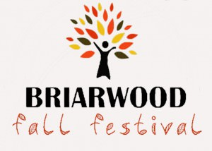 "Off-white background, logo of a tree with yellow, orange, red, and dark brown leaves; the trunk of the tree resembled the silhouette of a person with their arms up in celebration. Text reads ""Briarwood Fall Festival."""