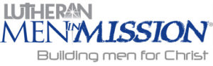 Grey and blue text on white background reads: Lutheran Men in Mission: Building Men for Christ.
