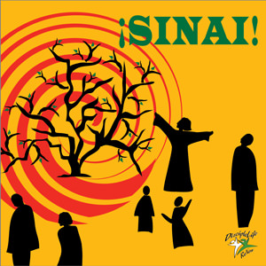 "Silhouette figures wander on a yellow background (representing the desert of Sinai); to the left there is a small tree or large bush, mostly bare branches, with large red swirls behind it, symbolizing fire. The word ""SINAI"" is written in green on the top right."