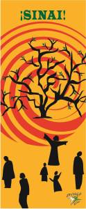 "Image for the 2015 NT-NL Mission Assembly: ¡SINAI! Image description: yellow background, several black silhouette figures wander around a tree; behind the tree a large red swirl represents fire/the sun. On the top of the image is the word ""¡SINAI!"" in green letters."
