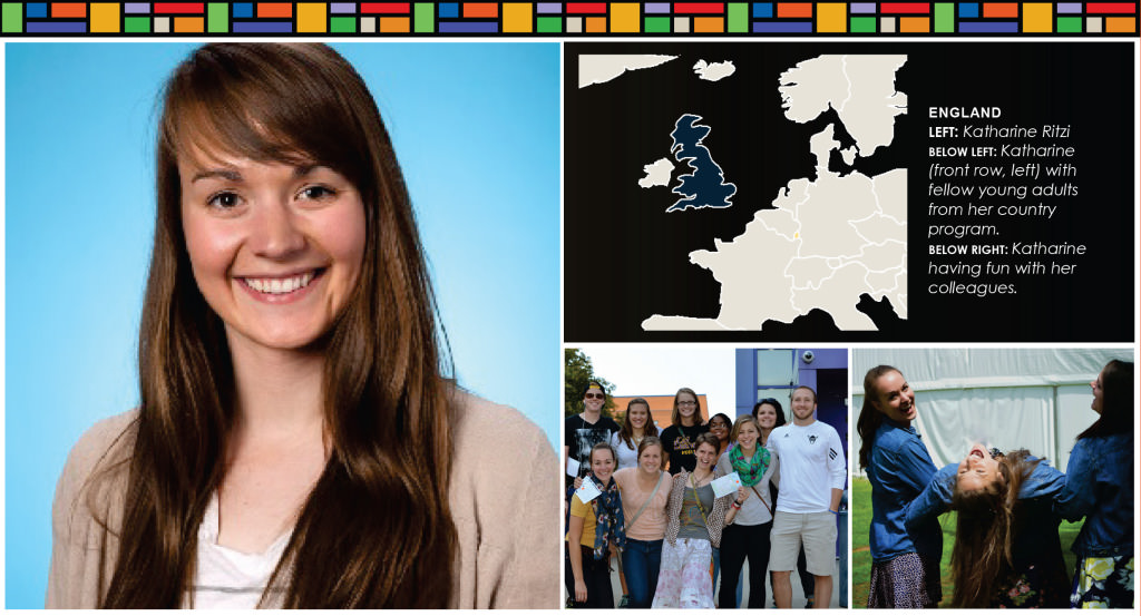 Left image: a young adult white woman with long brown hair. Top right: outline map of England. Bottom right: Images of the young woman with fellow Young Adults in Global Mission