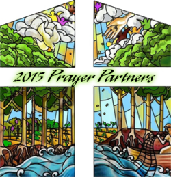 Sketch of a stained-glass window design. Text reads 2015 Prayer Partners