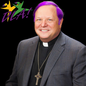 Bishop Kevin Kanouse's headshot edited to make his hair purple.