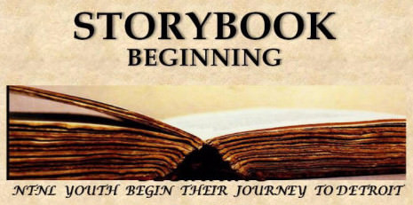 Storybook beginning: NT-NL Youth begin their journey to Detroit. Image of an open book.