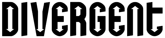 "The word ""DIVERGENT"" is written in all caps, black text on white background; the font has arrows in the negative space of the letters with the arrows pointing in different directions."