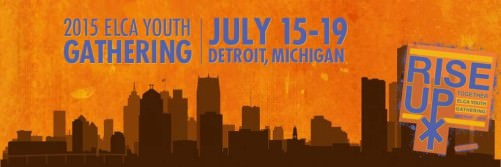 "Minimalist, stylized drawing of the Detroit skyline, dark buildings against an orange background. Purple text across the top reads: ""2015 ELCA Youth Gathering 