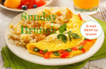 """Sunday Brunch, Aug. 23 [Image description: photo of a plate with an omeletstuffed with red and green peppers, and a side of hash browns. Text reads :Sunday Brunch"""" over the plate of food in green text, and """"August 23"""" in green text on the top right corner. There is a solid white circle overlay with the text """"Email RSVP for brunch!"""" in red text on the middle right side of the image.]"""