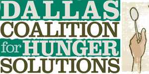 """Dallas Coalition for Hunger Solutions. ]Image description: the right side of the image is a watercolor drawing of a hand holding up an empty spoon. The left side of the image has the words """"Dallas Coalition for Hunger Solutions"""" in all caps block text, with alternating green and white lines as the background for the text.]"""