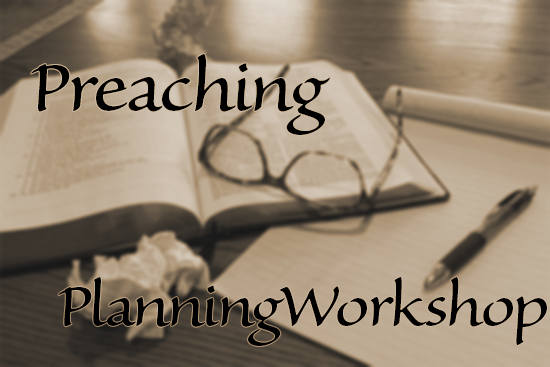 Preaching Planning Workshop [Image description: sepia-toned, slightly blurred image of an open Bible with a pair of eyeglasses resting on it, a legal pad and a pen, and a couple of crumpled sheets of paper, on a desk.]