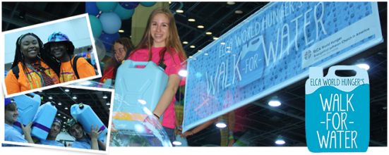 "ELCA World Hunger's Walk for Water banner [Image description: the central photo is of a blode teen in a bright pink shirt carrying a large, light blue plastic container of water; behind her is a banner for ELCA World Hunger's Walk for Water. On the left side of hte image are two photographs, the top one is of two Black teenagers or young adults smiling at the camera and hugging. They are wearing bright orange jackets. The bottom photo shows three teenage boys carrying large container of water each, hoisted over their shoulders. On the bottom right corner is a drawing of a large, light blue plastic water container filled with water, and with the words ""ELCA World Hunger's Walk for Water"" written on white text.]"