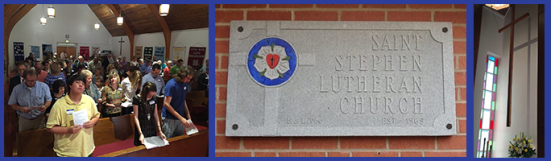 """[Image description: three photographs: the first on the left shows members of St. Stephen's Lutheran Church in Shreveport during workship; the middle photograph is of a stone plaque on a brick wall, with the Luther Rose in the center of a cross and the words """"Saint Stephen Lutheran Church"""" carved next to the cross. The third photograph is of a cross hanging in the sanctuary of St. Stephen, next to a stained glass window. There is a basket of flowers below the cross.]"""