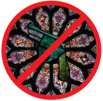 [Image description: a red outline of a circle with a red slash through it; inside the circle is a depiction of a stained glass window like the ones seen in churches and cathedrals. In the center of the circle is a six-shooter handgun.]
