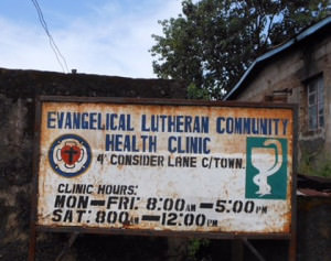 Evangelical Lutheran Community Health Clinic sign in Sierra Leone