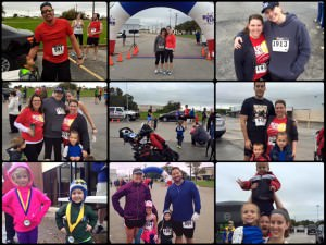 Collage of photos of runners and volunteers at Calvary Lutheran Church's Run for the Hills event.