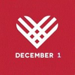 Giving Tuesday logo [Image description: a white heart made out of intersecting lines on a red background. December 1 is written in block letters underneath the heart.]