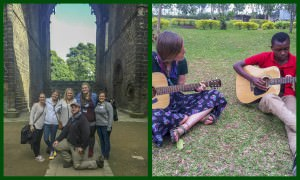 [Image description: two side-by-side images of young adults. The left image is five young adults outside a stone building in Scotland. The right image is two young adults playing guitar outside on the grass.]