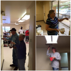 Volunteers from Rejoice (Frisco) painting walls and ceilings at Mosaic in Corsicana.