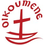 """[Image description: a red cross on a white background; the cross sits on a Z-shaped line resembling a boat or waves in water. The word """"OIKOUMENE"""" is written above the cross, curving around it.]"""