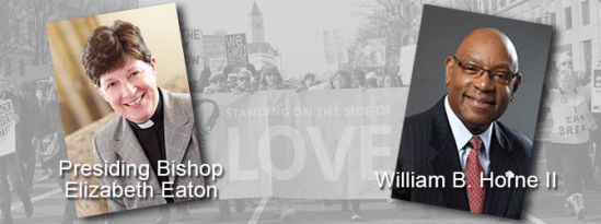 """Background image: black and white photograph of people carrying a large banner at a march. The banner reads """"Standing on the side of LOVE."""" On the left side of the image is a color photograph of ELCA Presiding Bishop Elizabeth Eaton, a white woman wearing a black cleric collar under a grey blazer. On the right side of the image is a color photograph or William B. Horne II, a Black man, bald and with glasses, wearing a dark suit and a red tie."""