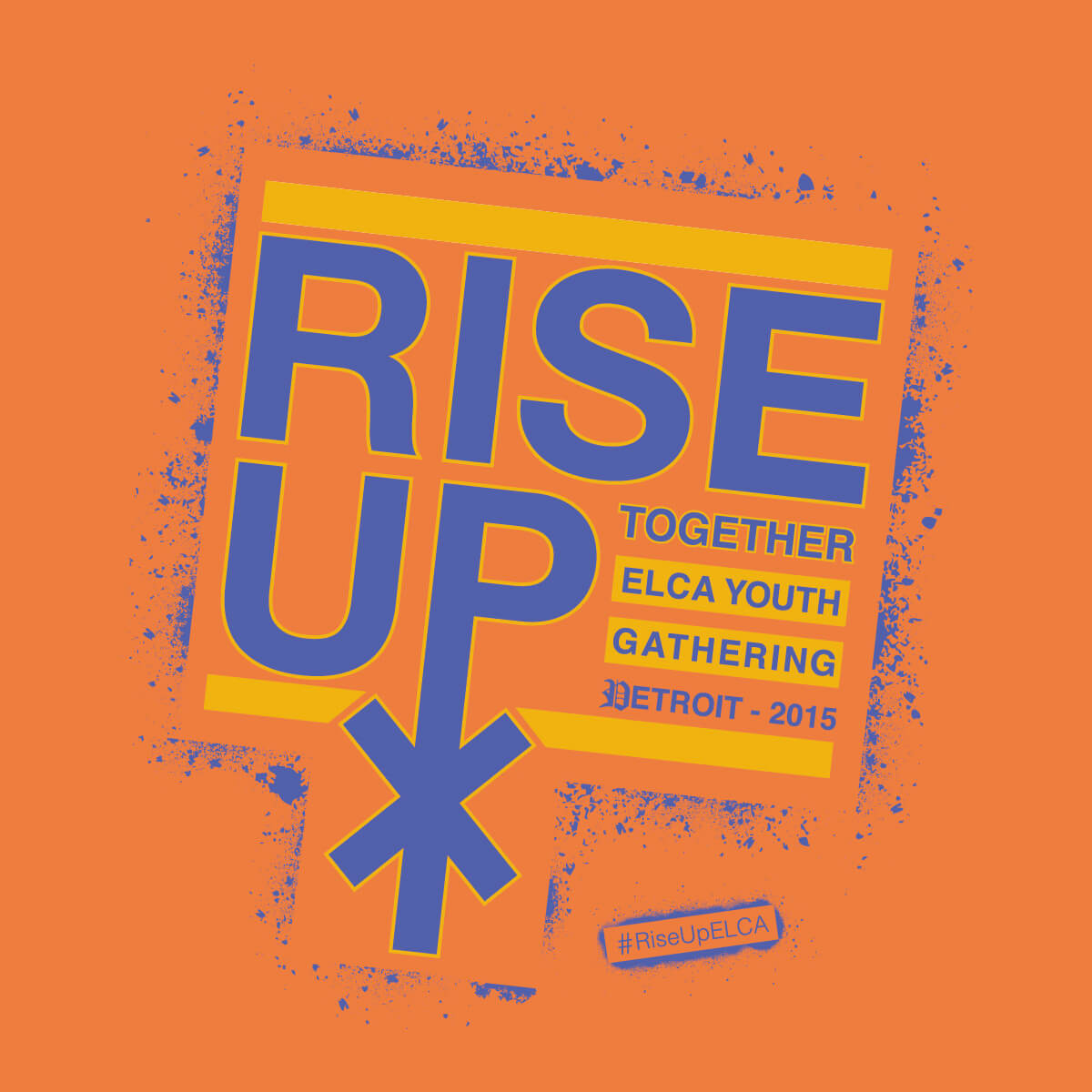 "2015 ELCA Youth Gathering logo: ""Rise Up Together"" purple text on an orange background; the ""P"" in ""Up"" is made to look like the Chi Rho symbol."
