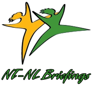 Logo: two abstract figures, one yellow, one green, dancing with their arms spread out. Underneath the figures, the text, in green, reads: NT-NL Briefings.