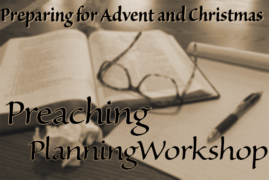 Preparing for Advent and Christmas: Preaching Planning Workshop [Image description: sepia-toned, slightly blurred image of an open Bible with a pair of eyeglasses resting on it, a legal pad and a pen, and a couple of crumpled sheets of paper, on a desk.]